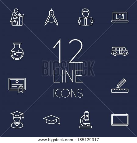 Set Of 12 Education Outline Icons Set.Collection Of Diploma, Compass, Pupil And Other Elements.