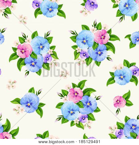 Vector seamless pattern with blue, pink and purple pansy flowers.