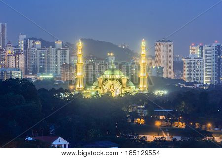 KUALA LUMPUR, MALAYSIA - AUGUST 15, 2016: The Federal Territory Mosque is one of the major mosque in Kuala Lumpur Malaysia. The mosque's design is a blend of Ottoman and Malay architectural styles.