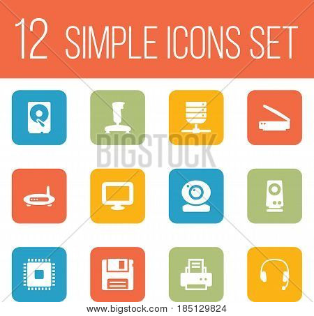 Set Of 12 Notebook Icons Set.Collection Of Display, Hard Disk, Peripheral And Other Elements.