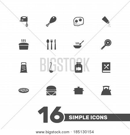 Set Of 16 Culinary Icons Set.Collection Of Scoop, Teapot, Loaf And Other Elements.