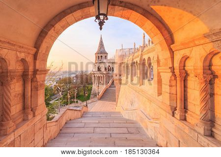 BUDAPEST, HUNGARY - APRIL 14, 2016: The north gate of the Fisherman's Bastion in Budapest Hungary at morning time.