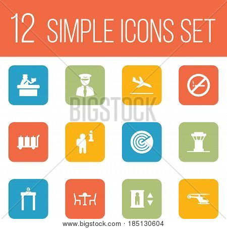 Set Of 12 Airplane Icons Set.Collection Of Letdown, Carriage, Lift And Other Elements.
