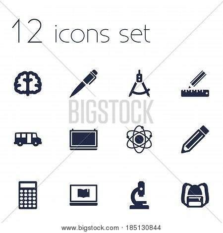 Set Of 12 Studies Icons Set.Collection Of Microbiology, Marrow, Drawing Tool And Other Elements.