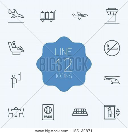 Set Of 12 Aircraft Outline Icons Set.Collection Of Plane, Business Class, Cafe And Other Elements.