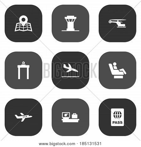 Set Of 9 Airplane Icons Set.Collection Of Location, Metal Detector, Luggage Check And Other Elements.