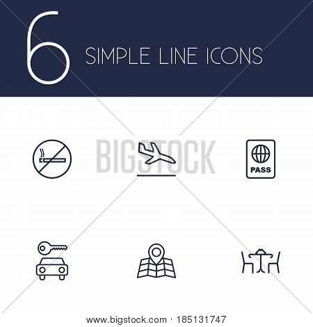 Set Of 6 Land Outline Icons Set.Collection Of No Smoking, Map, Sit And Other Elements.