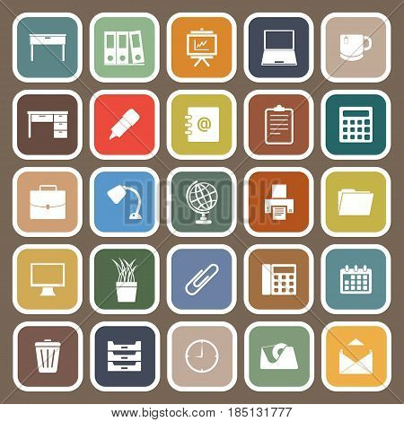 Workspace flat icons on brown background, stock vector