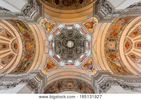 SALZBURG, AUSTRIA - APRIL 8, 2016: Dome of Salzburg Cathedral Church located on a Domeplatz in old town area of the salzburg city