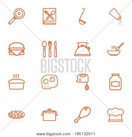 Set Of 16 Kitchen Outline Icons Set.Collection Of Ladle, Mixer, Pan And Other Elements.