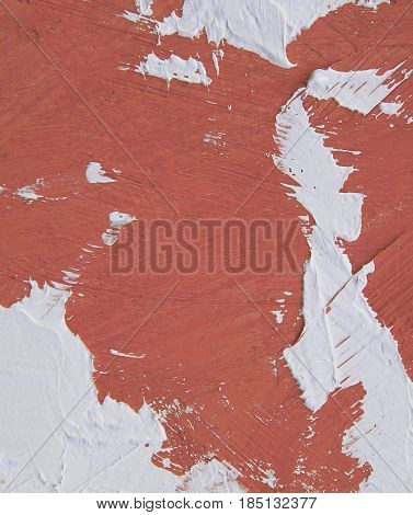 Acrylic paint texture with brown and white brush strokes for interesting and dynamic backgrounds. Suitable for web design patterns.