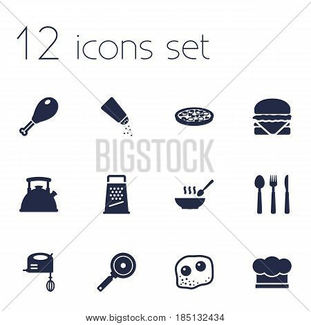 Set Of 12 Culinary Icons Set.Collection Of Kitchen Rasp, Pepperoni, Poultry Foot And Other Elements.