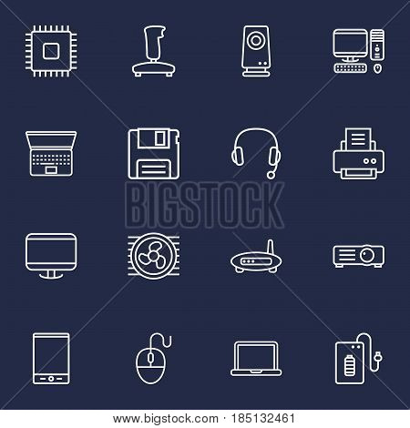 Set Of 16 Computer Outline Icons Set.Collection Of Projector, Monitor, Laptop And Other Elements.
