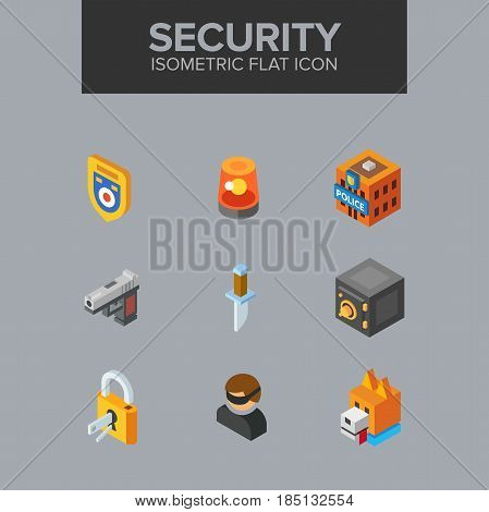 security isometric icon. Fully editable Illustration vector