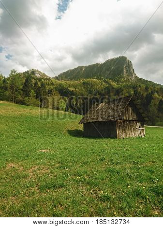 old abonded wood barn in countryside, slovenija