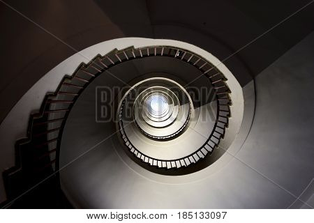 old dark spiral staircase at Ljublanjas skyscraper