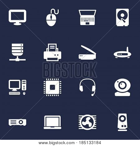 Set Of 16 Laptop Icons Set.Collection Of Peripheral, Microprocessor, Show And Other Elements.