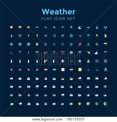 weather flat icon set. Fully editable Illustration vector
