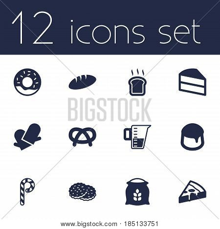 Set Of 12 Cook Icons Set.Collection Of Pastry, Shortcake, Sack And Other Elements.