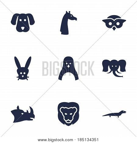 Set Of 9 Beast Icons Set.Collection Of Diver, Camelopard, Wildcat And Other Elements.