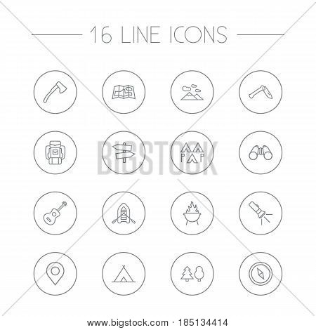 Set Of 16 Picnic Outline Icons Set.Collection Of Guitar, Penknife, Shelter And Other Elements.