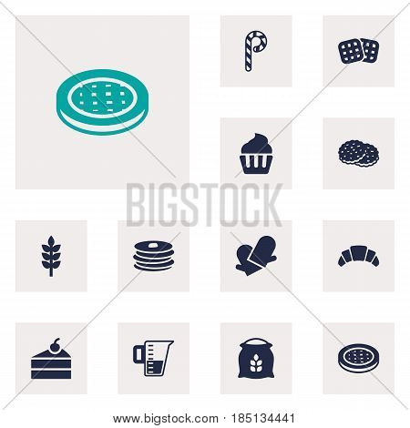 Set Of 12 Bakery Icons Set.Collection Of Cake, Shortcake, Striped Lollipop And Other Elements.