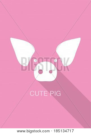 Pig Cartoon Face, Flat Icon Design, Vector Illustration