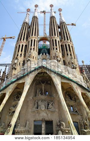 Barcelona, Spain - June 09, 2011: The La Sagrada Familia cathedral by Antoni Gaudi in Barcelona. Wide angle shot