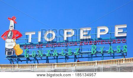 Madrid, Spain - September 06, 2016: Vintage Tio Pepe advertisement at Puerta del Sol in Madrid