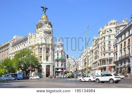 Madrid, Spain - September 01, 2016: The Metropolis building on the corner of Calle de Alcala and Gran Via street in Madrid