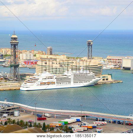 Barcelona, Spain - June 11, 2011: Cruise ship in port of Barcelona