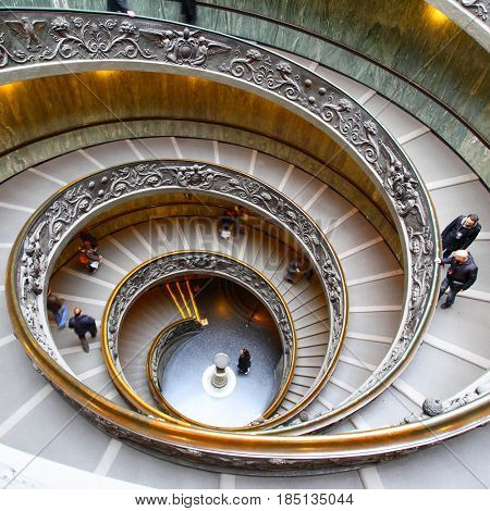 Vatican - January 19, 2011: Spiral staircase in the Vatican Museum