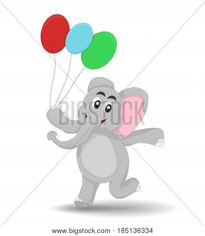cartoon elephant walking happy holding colorful ballon