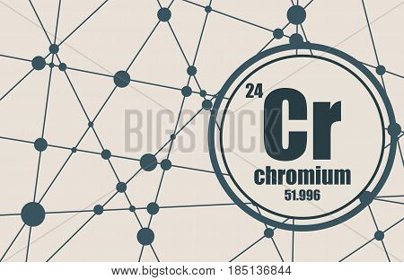 Chromium chemical element. Sign with atomic number and atomic weight. Chemical element of periodic table. Molecule And Communication Background. Connected lines with dots.