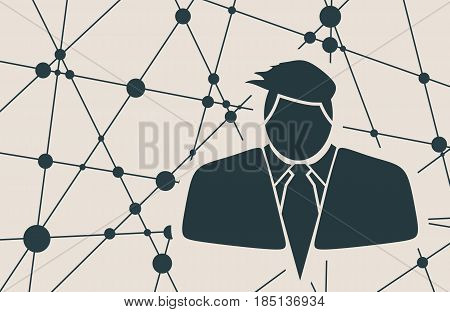 Businessman in suit icon. Comb hairstyle. Monochrome silhouette. Brochure, report or leaflet design template. Scientific design. Molecule And Communication Background. Connected lines with dots.