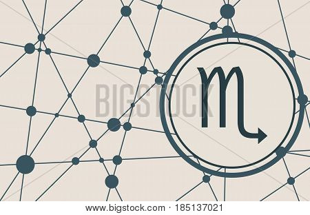 Zodiac symbol in circle. Vector illustration. Molecule And Communication Background. Connected lines with dots. Modern vector brochure, report or cover design template. Scorpion sign
