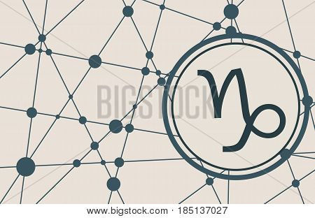 Zodiac symbol in circle. Vector illustration. Molecule And Communication Background. Connected lines with dots. Modern vector brochure, report or cover design template. Sign of the Capricorn