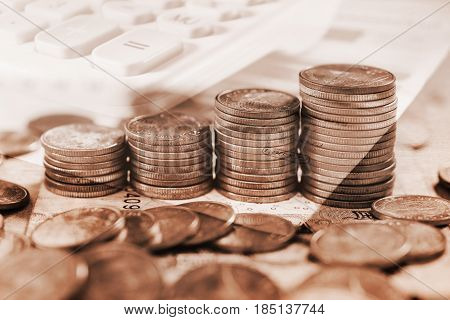 Double exposure saving money and account finance banking business concept