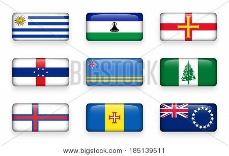 Set of world flags rectangle buttons ( Uruguay . Lesotho . Guernsey . Netherlands Antilles . Aruba . Norfolk Island . Faroe Islands . Madeira . Cook Islands )