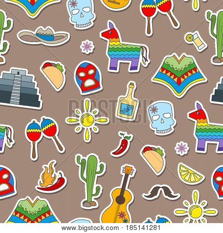 Seamless pattern on the theme of recreation in the country of Mexico colorful stickers icons on brown background