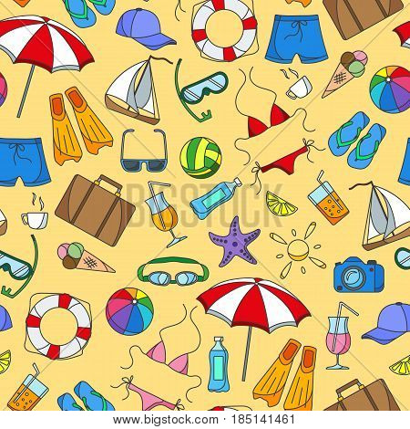 Seamless pattern on the theme of summer holidays in hot countries simple color icons on yellow background
