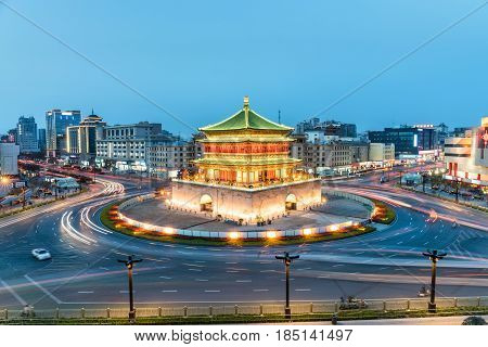 xian bell tower on nightfall the ancient city in China the famous tourist destination