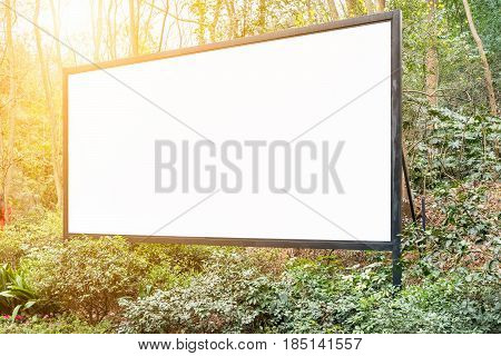 large billboard in the mountain forest park
