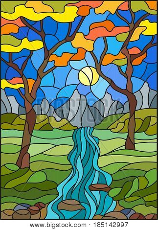 Illustration in stained glass style with a rocky Creek in the background of the Sunny sky mountains trees and fieldsautumn landscape