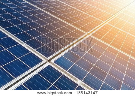closeup of the solar energy panels with sunlight