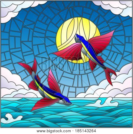 Illustration in stained glass style with a pair of flying fish on the background of water cloud sky and sun