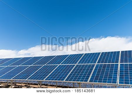 photovoltaic power station on tibetan plateau solar energy panels under the sunny sky