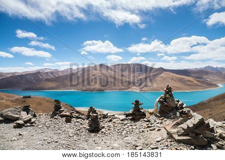beautiful holy yamdrok lake marnyi stone as prospect having a strong religious faith in tibet