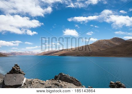 beautiful holy lake yamdrok marnyi stone as prospect having a strong religious faith in tibet