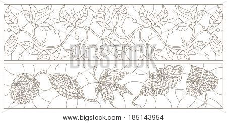 Set contour illustrations in the stained glass style with floral patterns horizontal orientation black contour on white background